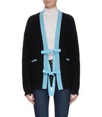 contrast panel sash tie cardigan
