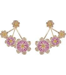 eye candy la women's luxe floral goldtone & crystal statement earrings