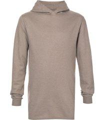 rick owens longline long-sleeve hoodie - brown