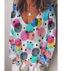 camicetta casual da donna con scollo a v a maniche lunghe con stampa a punti multicolore