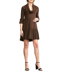 women's maternal america cowl neck maternity dress, size medium - brown