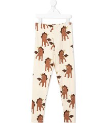 mini rodini unicorn-print leggings - neutrals