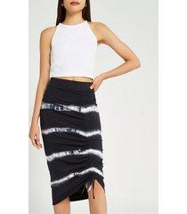 river island womens black tie dye ruched midi skirt