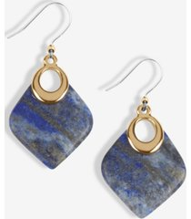 lucky brand gold-tone lapis drop earrings