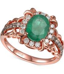 le vian costa smeralda emerald (1-1/3 ct. t.w.) & diamond (3/8 ct. t.w.) ring in 14k rose gold