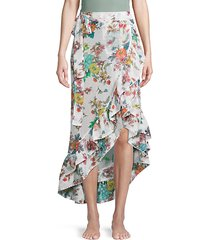 floral-print asymmetric skirt