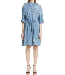 women's givenchy bandana a-line denim dress, size 8 us - blue