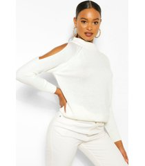 cold shoulder high neck sweater, ivory