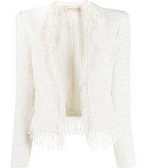 blanca vita frayed edge tweed jacket - white