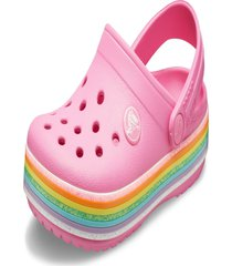 sandália crocs crocband rainbow glitter clog k rosa.