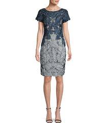 novelty colorblock embroidery sheath dress