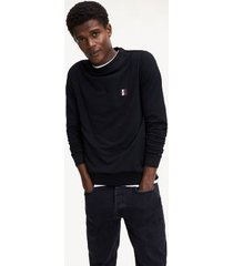 tommy hilfiger men's soft-washed fleece sweatshirt black - xs