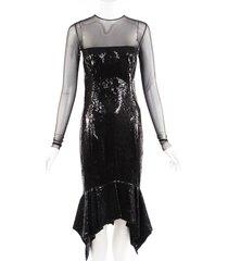 alexandre vauthier black sheer sequin trumpet dress black sz: s