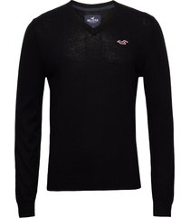 hco. guys sweaters stickad tröja v-krage svart hollister
