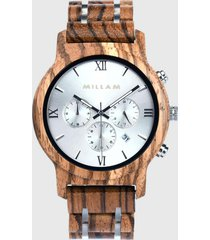 reloj madera natural marrón millam