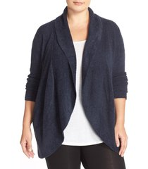 plus size women's barefoot dreams cozychic lite circle cardigan, size 1x - blue