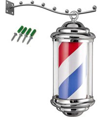 poste del peluquero rojo blanco azul rayas giratoria de metal hair salon shop signo # 110v (enchufe de ee.uu.) - normativa europea (220v)