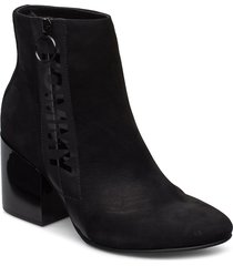 tommy jeans zip mid heel boot shoes boots ankle boots ankle boots with heel svart tommy hilfiger