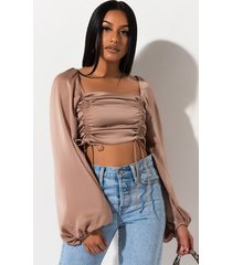 akira keep it cool ruched long sleeve blouse