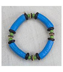 recycled glass and plastic beaded stretch bracelet, 'electric love' (ghana)