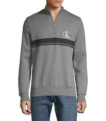 half-zip cotton-blend sweatshirt