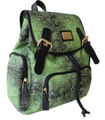 mochila laceê média floral verde