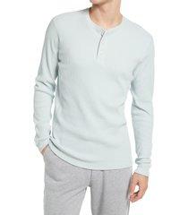 men's vince plaid long sleeve pima cotton blend henley top, size xx-large - blue