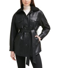 kenneth cole belted faux-leather & faux-fur-trim shirt jacket