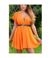 sexy v-halter jumpsuit met riem oranje