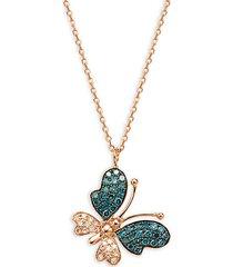 14k rose gold, & blue & white diamond butterfly pendant necklace