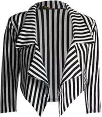new ladies casual black white striped cropped waterfall blazer jacket coat