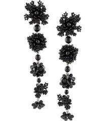 carolina herrera floral drop earrings - black