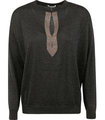 brunello cucinelli round neck detail pullover