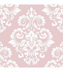 papel de parede arabesco floral rosa nobre 57x270cm - multicolorido - dafiti