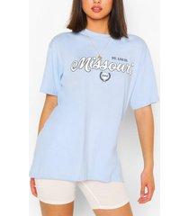 missouri collegiate print t-shirt, light blue
