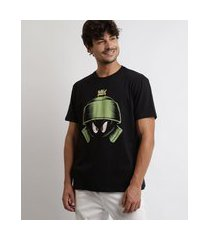 camiseta masculina marvin looney tunes manga curta gola careca preta