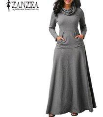 zanzea vestido de noche para fiesta de noche bolsillos de manga larga con lazo vestido largo liso -gris
