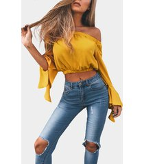 yellow off-the-shoulder long flared sleeves crop top