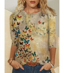 camicetta da donna in cotone taglia plus con stampa farfalle