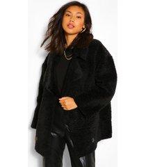 faux fur teddy jas met nep suède voering en dubbele knopen, zwart
