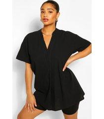 plus longline tunic blouse, black