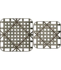 stylecraft cross hatch trays metal wall plaques - set of two