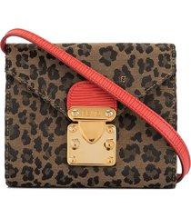 fendi pre-owned leopard print shoulder bag - red