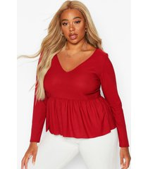 plus v neck long sleeve smock top, berry
