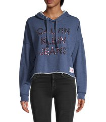 ck jeans women's embellished-logo cotton-blend hoodie - blue - size m