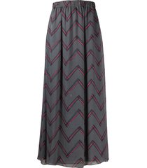 emporio armani zigzag print elasticated waist skirt - grey