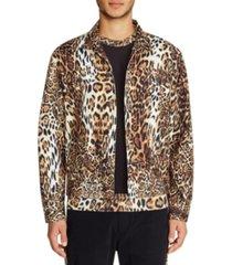 tallia men's slim fit leopard trucker jacket
