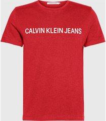 polera calvin klein jeans rojo - calce slim fit