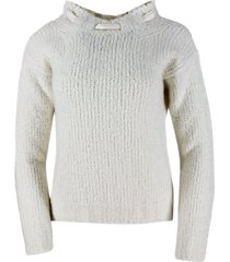 ermanno scervino cashmere and silk bouclé crewneck sweater with back opening with silk bow for closure.