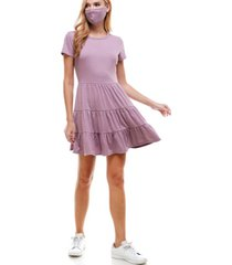 be bop juniors' tiered dress & reversible face mask
